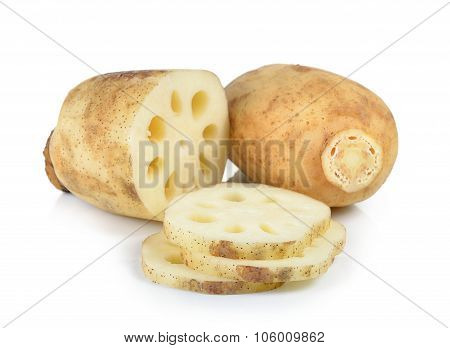Lotus Root On White Background