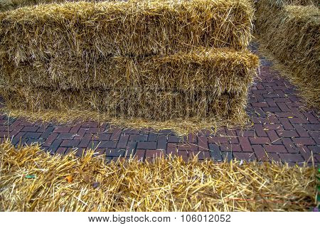 Maze For Either People Or Livestock To Navigate Made From Straw Bales