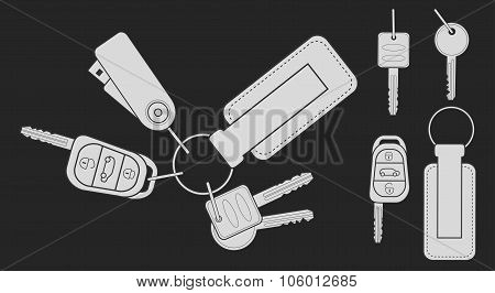 Set of realistic keys. Chalk on blackboard