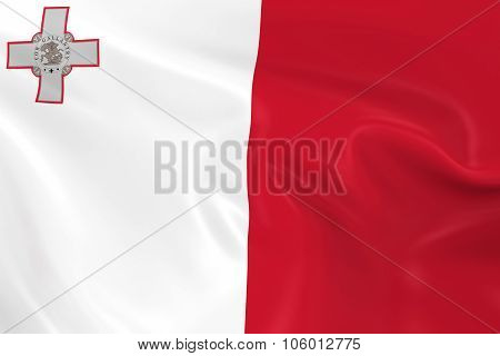 Waving Flag Of Malta - 3D Render Of The Maltese Flag With Silky Texture