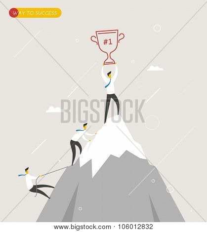 Businessman climbs the mountain, cup in hand. Winning success hard way.