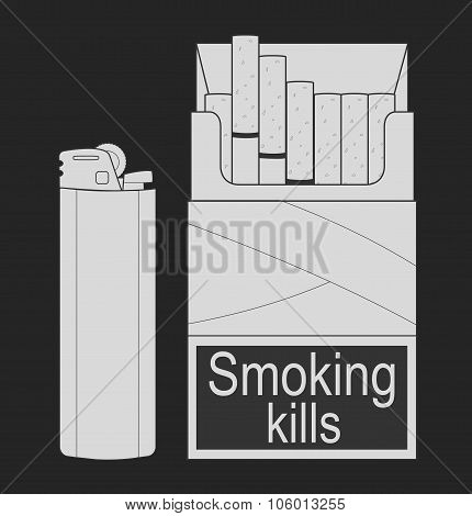 Open cigarettes pack. Chalk