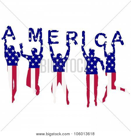 People Silhouettes Patterned In Usa Flag
