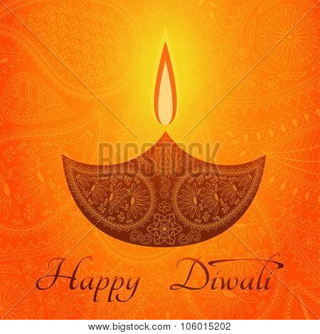 Yellow color card design for Diwali festival with beautiful lamps.