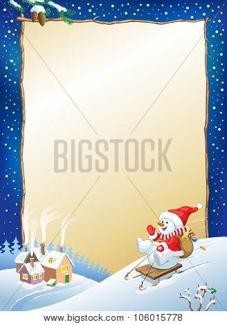 Christmas Background. Snowman On Sled With Gifts.