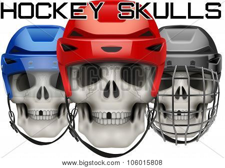 Skulls with ice hockey helmet.
