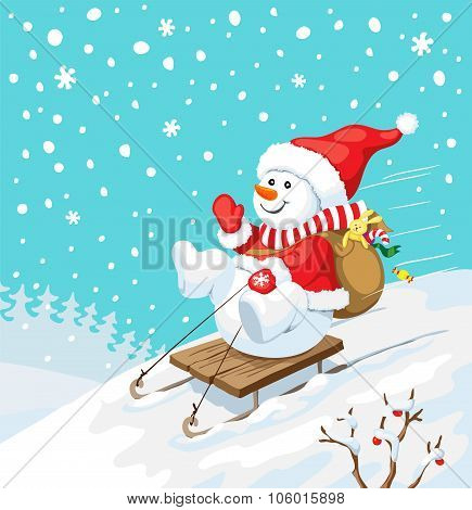 Christmas Illustration. Snowman On Sled With Gifts.