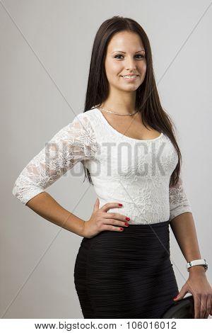 Beautiful Girl Standing Next Bar Chair