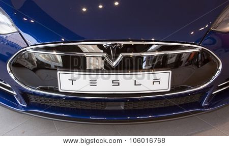 Tesla Car In A Showroom In Amsterdam
