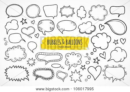 Hand drawn thought and speech bubbles and balloons