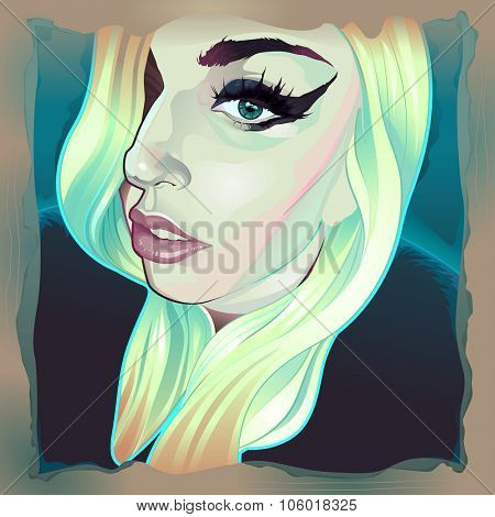 February, 2015. Vector illustration of Lady Gaga