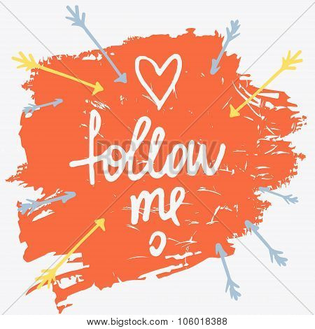 Follow me. Social net. Vector illustration on cyan background.