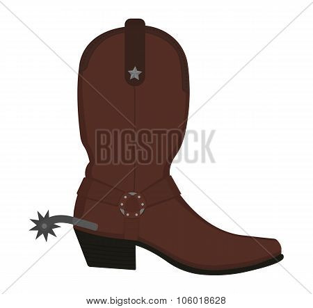 Wild west leather cowboy boot with spur. No outline