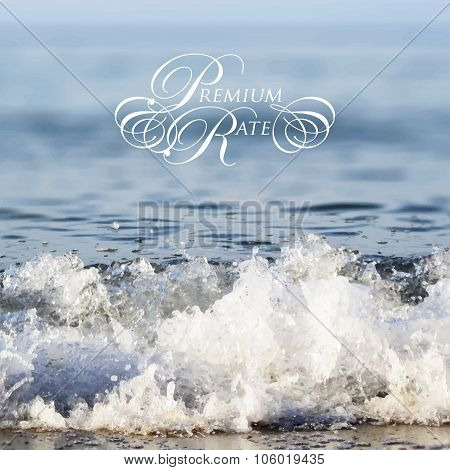 Calligraphic frame for your lettering on unfocused sea background. Vector illustration
