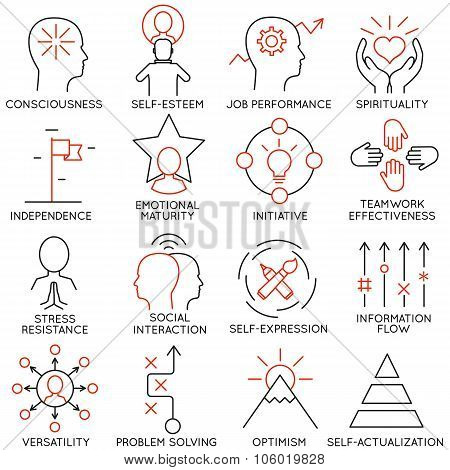 Set of icons related to business management - part 21