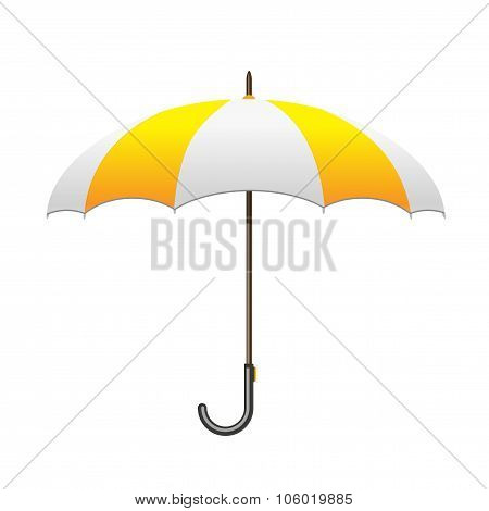 Striped white and yellow Umbrella. Care and protection from rain
