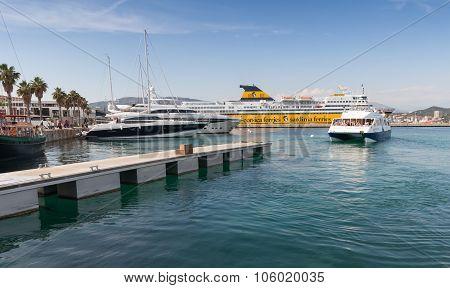 Port Of Ajaccio, Corsica. Small Passenger Ferry