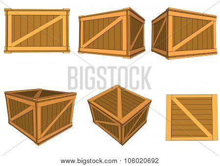 set wooden boxes Vector