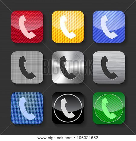 Phone Handset Sign On Glossy And Metallic Icons