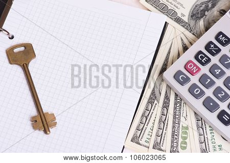 Calculator, Key And Money