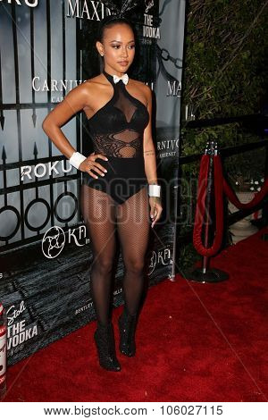 LOS ANGELES - OCT 24:  Karrueche Tran at the MAXIM Magazine's Official Halloween Party at the Private Estate on October 24, 2015 in Beverly Hills, CA