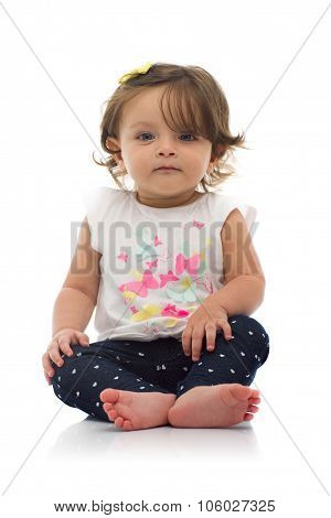 Adorable Young Caucasian Girl Sitting