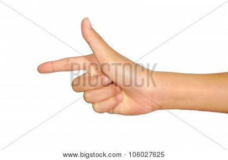 Female caucasian hand gesture of a single pointing finger isolated on white background