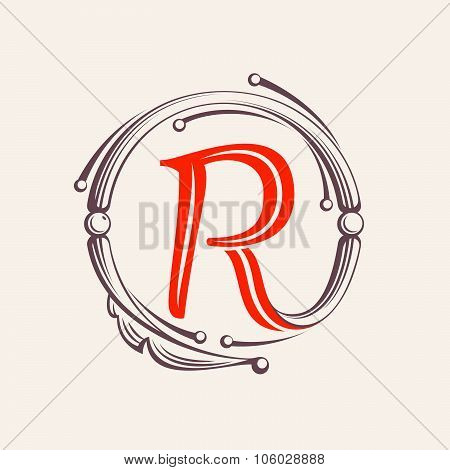 R Letter Monogram Design Elements.