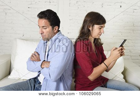 Social Network Addict Woman Using Mobile Phone Ignoring Husband Or Boyfriend Upset And Angry
