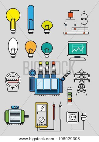 Electricity set of the flat line art  vector  illustration