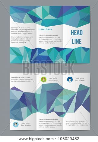 Vector  business brochure or magazine cover  template with low polygon pattern.