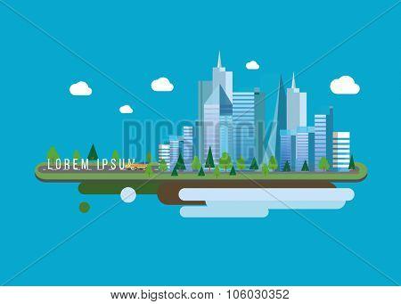 Big City. Vector illustration of apartment blocks in a city at night.