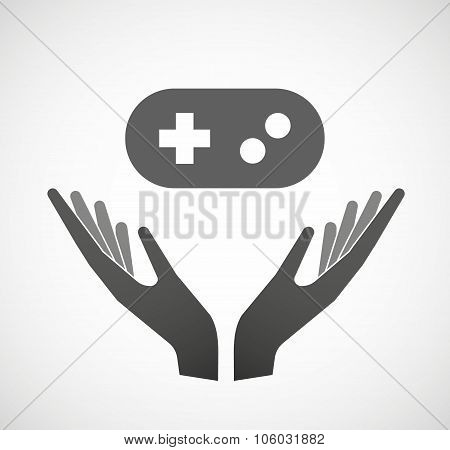 Two Hands Offering A Game Pad