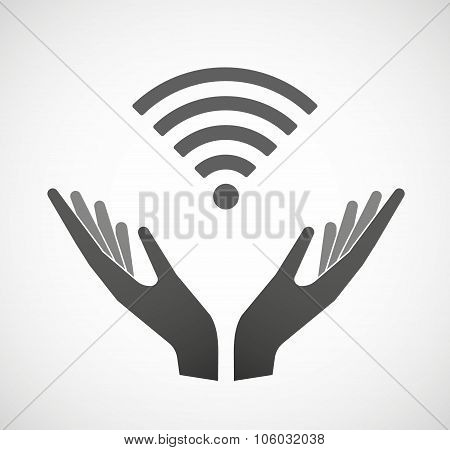 Two Hands Offering A Radio Signal Sign