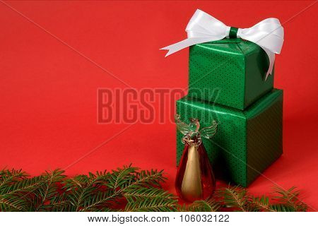 Christmas Gift Boxes On The Red Background