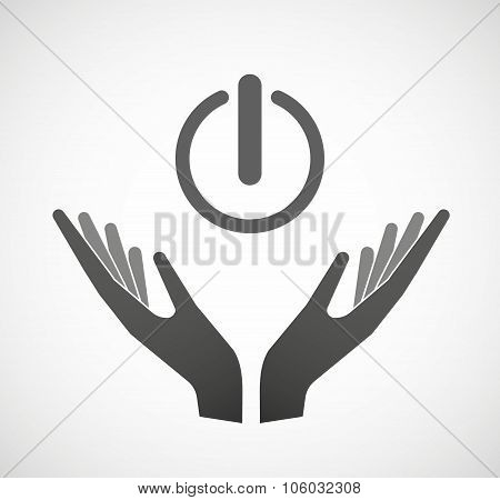 Two Hands Offering An Off Button