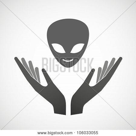 Two Hands Offering An Alien Face