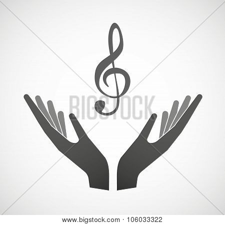 Two Hands Offering A G Clef