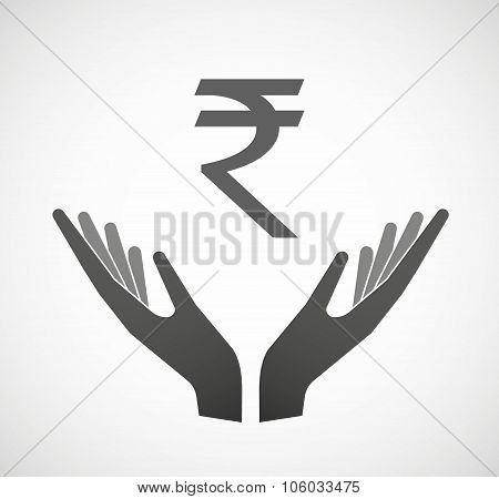Two Hands Offering A Rupee Sign