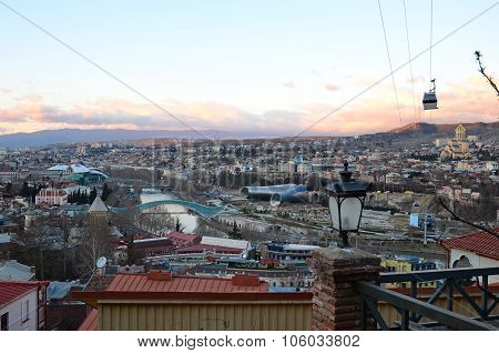 Top View Of The Old City And Downtown Of Tbilisi In The Evening