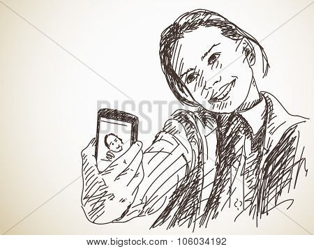 Teenage girl taking selfie, Vector sketch, Hand drawn illustration