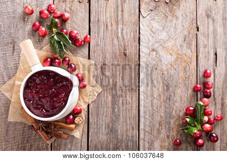 Cranberry sauce in ceramic saucepan