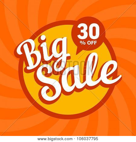 Big sale of 30 percent. Vector background.