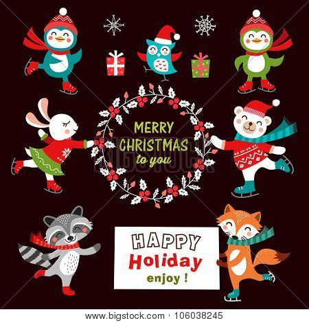 Set of cute cartoon christmas characters. Vector illustration.
