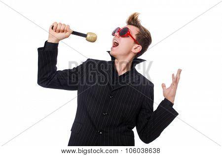 Singing man in karaoke concept