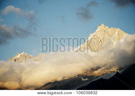 View of the northern slopes of the Aiguille du Midi, Chamonix, Alps, France.