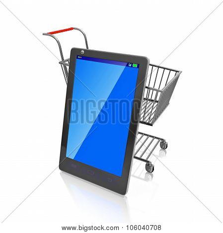 Smart Phone In Front Of Shopping Cart