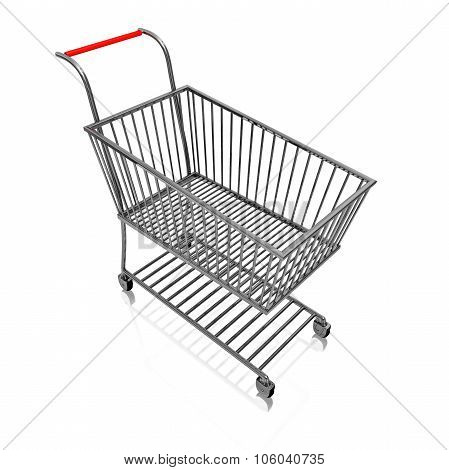 Steel Shopping Cart Isolated On White