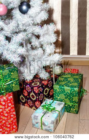 Boxes With Gifts Under The Christmas Tree