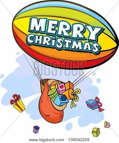 Airship Full Of Gifts - Vector Illustration